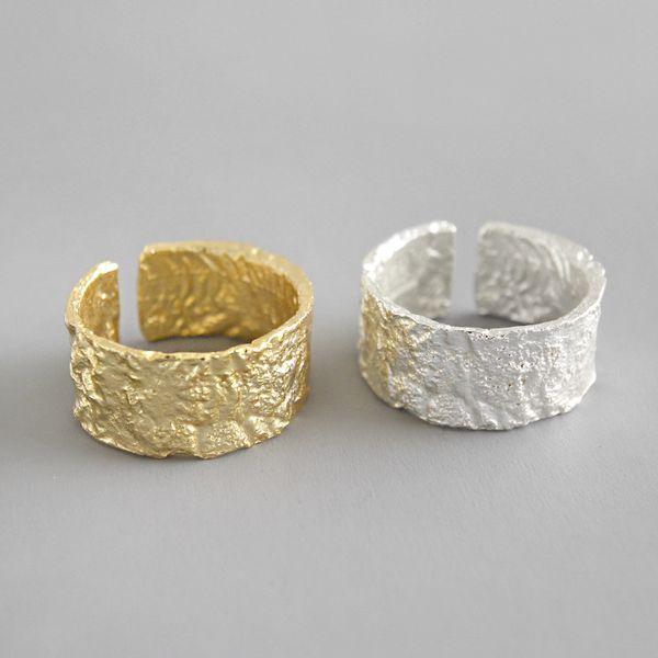 شانيس على نطاق واسع الدائري 100٪ 925 خاتم فضة المفتوحة للمرأة INS ذهبية فضية اللون الذهب احباط مقعرة، محدبة غير النظامية الوجه