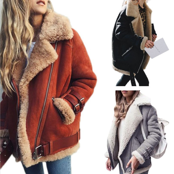 Women Winter Faux Suede Zipper Up Biker Jacket Thicken Lining Motorcycle Coat Notched Lapel Collar Bomber Overcoat Outwear