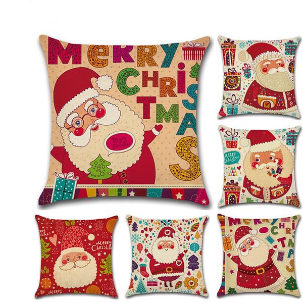 Feliz Navidad Papá Noel Funda de cojín Decorativo de Navidad Funda de almohada Lino Throw Funda de almohada Cubierta VT0099