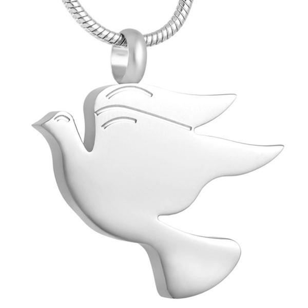 IJD8712 Paslanmaz Çelik Güvercin Şekli Kremasyon Keepsake Kül Anıt Takı Urn Sevilen Külleri için Kolye