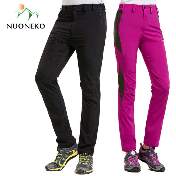 NUONEKO New Men Women's Outdoor Hiking Pants Elastic Quick Dry Waterproof Pants Camping Trekking Fishing Climbing Trousers PN33