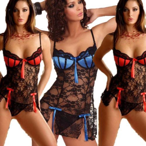 Sexy Lady Ropa de mujer Vestido de encaje de seda Babydoll Sheer sin mangas Mini camisón camisón Ropa de dormir Vestido de bata