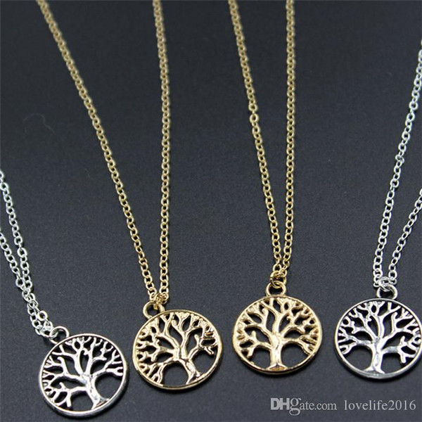 Vintage Tree of Life Pendant Necklaces Antique Silver & Gold Plated Charm Necklace Peace Trees Sweater Chain Fine Jewelry Xmas Gift A214