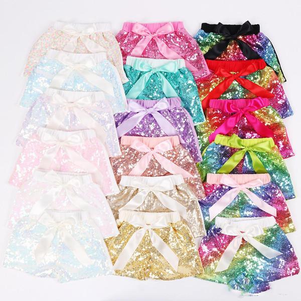 Baby Mädchen Pailletten Shorts Kinder Glitter Bling Hosen Tanz Shorts Kostüm Lässige Mode Hosen Boutique Bogen Prinzessin Party Sommer Shorts