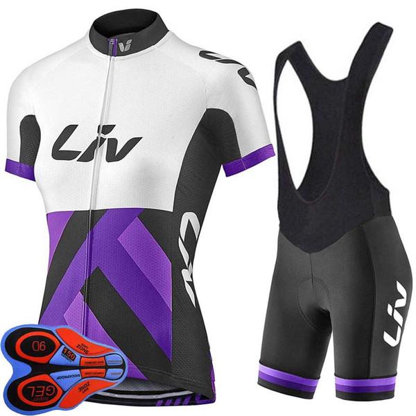 LIV 2019 Kurzarm Radtrikot Trägerhose Set Mountainbike Bekleidung Fahrrad Fahrradbekleidung Damen Short Maillot Culotte