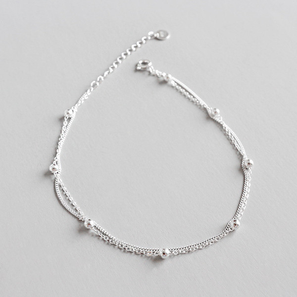925 Sterling Silver Ankle Bracelet Tobilleras Pulsera Para Tobillo, Minimalist Beads Double Chains Anklets For Women Jewelry C19041101