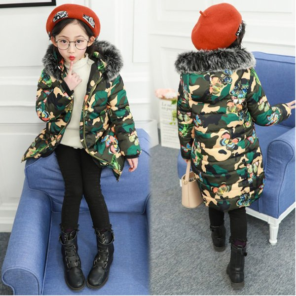 5-13 years old fur collar Girls Winter coat Children Outwear thickening Printed camouflage butterfly long trench Windproof