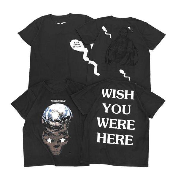 Travis Scott para hombre camisetas de verano Jesus Skeleton All Side Print Camisetas de manga corta Cuello redondo de moda Vestido de doble lado Ropa casual