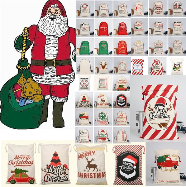 top popular 2020 New Christmas bags Large Canvas Monogrammable Santa Claus Drawstring Bag With Reindeers Monogramable Christmas Gifts Sack Bags 2019