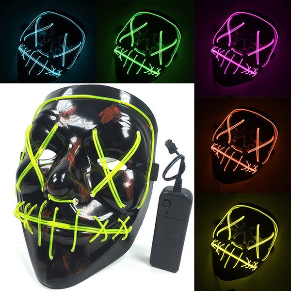 Led Halloween Neon Mask Light Up Purge Mask Skull Funny Masquerade Costume Election Party Masks Glow In Dark Scary Movie Cosplay HH7-1719