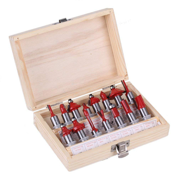 "1/2"" Red Shank Carbide Steel Router Bit Set Woodworking Cutter Trimming with Wood Case Box Pack of 15"