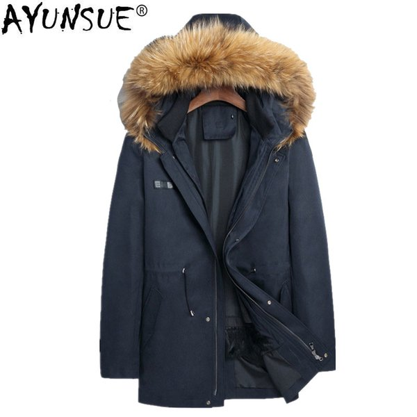 AYUNSUE Parka Homme Winter Jacket Men Real Rabbit Fur Liner Coat Mens Raccoon Fur Collar Parkas Plus Size 4xl Veste Homme MY1248