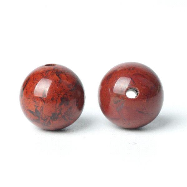 TopGoods Naturstein Perlen Roter Blut-Jaspis Edelstein Runde Lose Edelsteinperle 6/8 / 10mm Matt-Roter Karneol für Muslim Rosenkranz