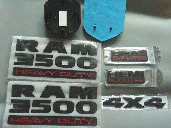 Auto stying 7PCS / SET RAM3500 Hochleistungs-EMBLEM-ABZEICHEN HEMI 6.4LITER AUFKLEBER RAM2500 Hochleistungs-RAM1500 EMBLEM hemi5.7liter Mattschwarzes