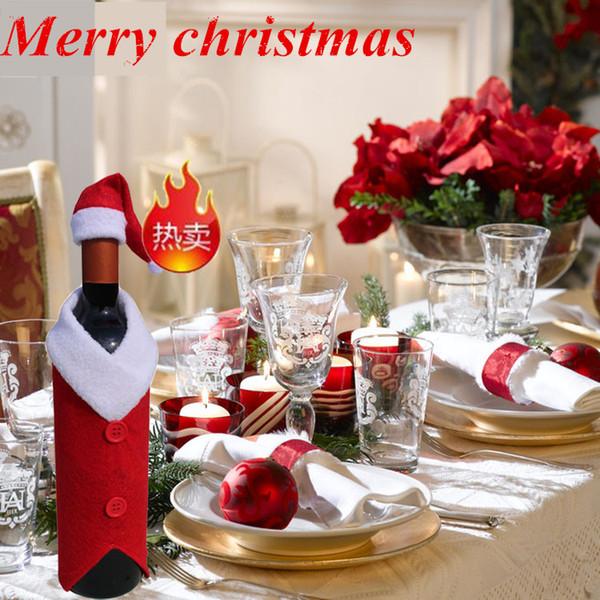 2pcs / set de bolsas de vino rojo de Santa del vino cubierta de la botella Bolsas Suministros Cena de Navidad decoración de la tabla del partido Inicio