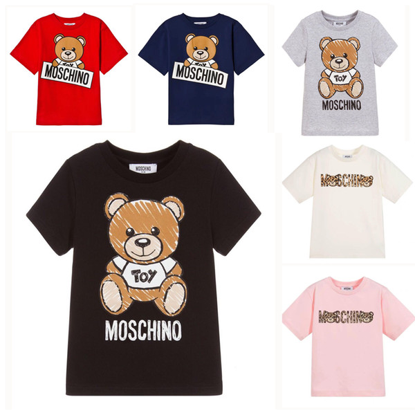 Crianças Designer de Camiseta Bonito Urso Padrão Tees Letras De Luxo Meninas Tops Meninos Ativos T-shirt Das Crianças Roupas Atacado 6 Estilos de Alta Qualidade