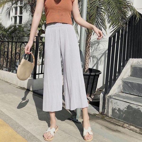 good quality Wide Leg Pants Pleated Stretchy Chiffon Legs Summer High Waist Loose Long Fashion Sexy Pant