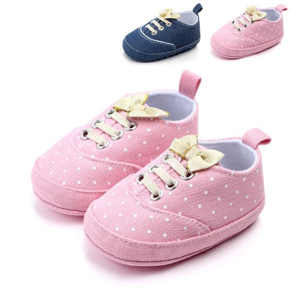 Baby Girl Rosa Azul Marinho Rendas Sapatos Macios Prewalker Andando Criança Crianças Sapatos doce