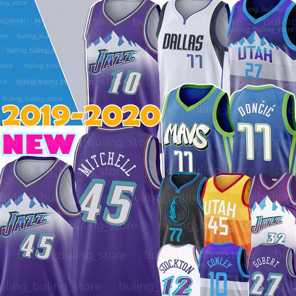 top popular Utah Donovan 45 Mitchell Jazzes Jersey Dalla Luka 77 Doncic Mavericks Rudy 27 Gobert Mike 10 Conley Karl 32 Malone 12 Stockton Porzingis 2019