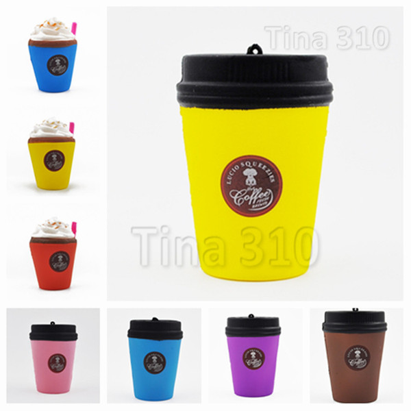 New Cute Squishy Coffee Cup Slow Rising Jumbo Milk Bag pendant Soft Coffee Cup Model Kids Fun Decompression Toys T2G5016