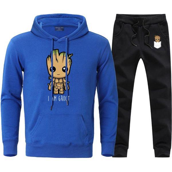I Am Groot Imprimir Mens Define Outono Inverno Fleece Hoodies Sweatshirts + Sweatpants Define 2020 Homem Causal Fatos 2 peças Suits