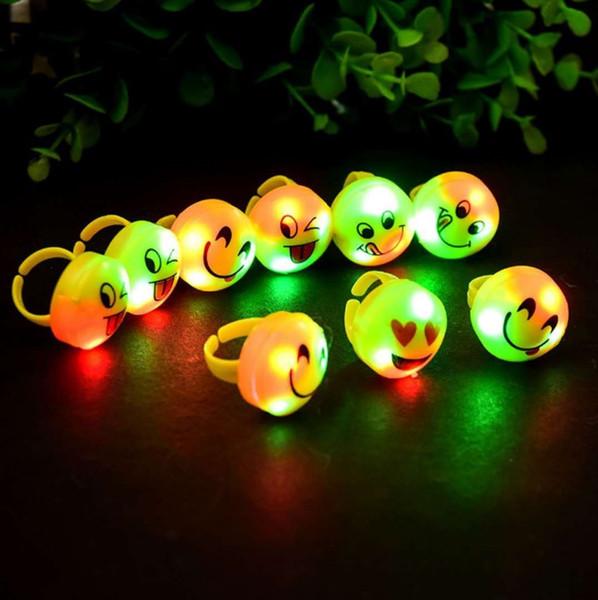 Flash of light Soft Finger ring Expression Finger lamp Cartoon Children Toys Plastic Luminescence LED Finger ring