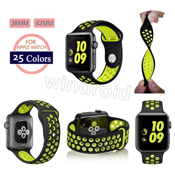 top popular New Arrived Sport Silicone More Hole Straps Bands For Apple Watch Series 1 2 Strap Band 38 42mm Bracelet VS Fitbit Alta Blaze Charge Flex 2019