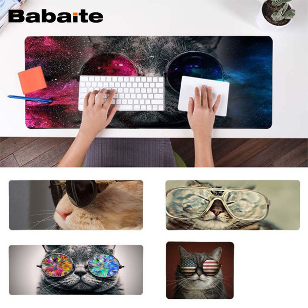 Babaite Your Own Mats Cool Cat Natural Rubber Gaming mousepad Desk Mat Free Shipping Large Mouse Pad Keyboards Mat