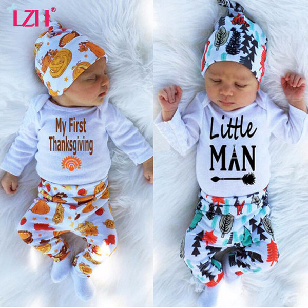 LZH 2018 Outono Inverno Bebê Recém-nascido Meninos Roupas Definir Minha Primeira Roupa De Graças Romper + Calça + Conjuntos de Chapéu Do Bebê Terno Roupa Infantil Y190515