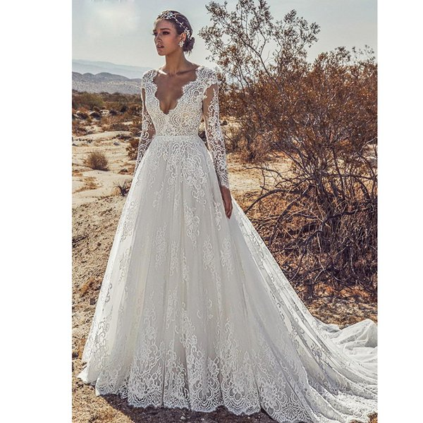 Graceful A-line Full Lace Wedding Dresses V-neck Backless Bridal Gowns with Long Sleeve Plus Size Beach robe de mariée