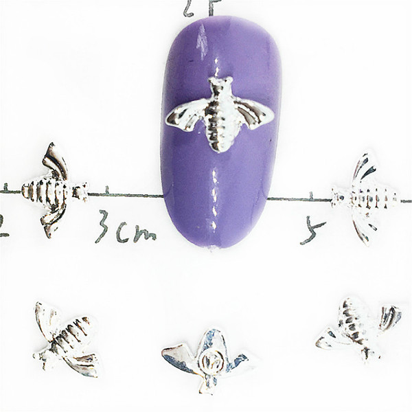 10Pcs Bee Nail Art Decorations 3d Metal Insects Charms Decos Bling Nailart Supplies Silver Studs Ornaments on The Nails Diy