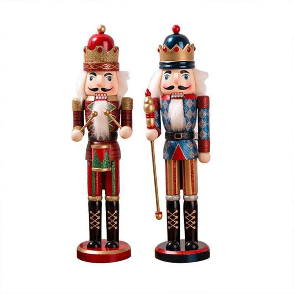 38 cm style classique casse-noisette marionnettes paillettes poudre miroitante brillant soldat casse-noisette à la main cadeau de noël bureau ornement Y19061103