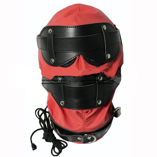 bdsm head mask sex hoods with removable blindfold mouth gag sex toys bondage gear red enclosure for women HMHD-1001C
