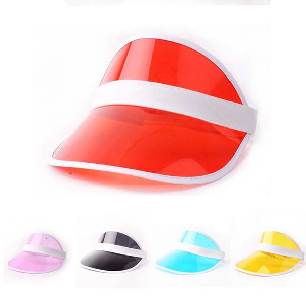 10 PCS Summer Unisex Women Men Sun Hat Candy Transparent Empty Top Plastic PVC Sunshade Hat Visor Caps Bicycle Sun hat wholesale