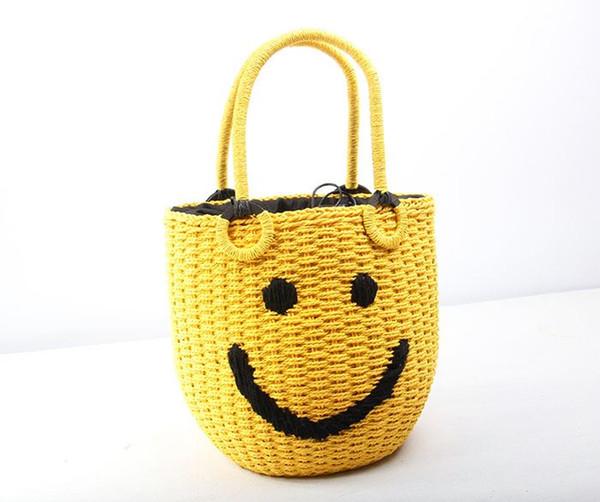 2019 Neue Sommer Strand Gewebt Stroh Strandtaschen Handtaschen Frauen Gestrickte griff Smiley Bucket Bag Handtasche Damenmode Lächeln Tote Handtaschen