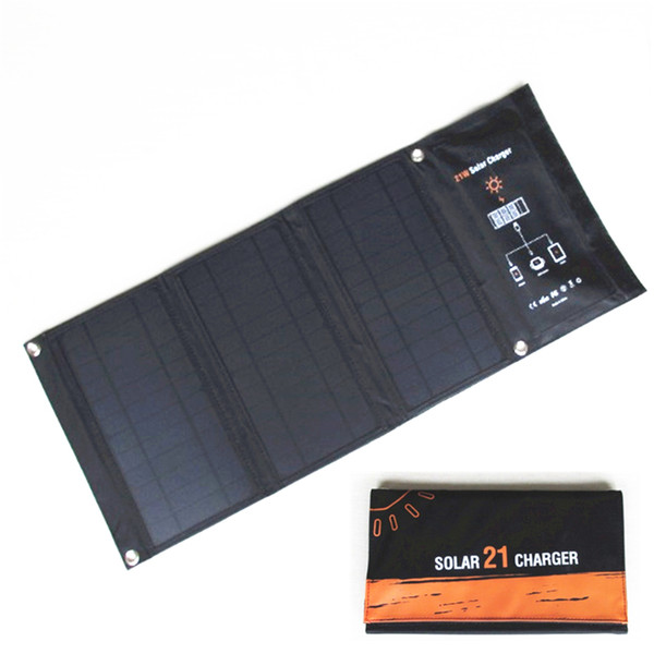 21W Solar charger Solar Panels with Dual USB Port Waterproof Foldable Solar Cells for Smartphones Tablets and Camping Travel