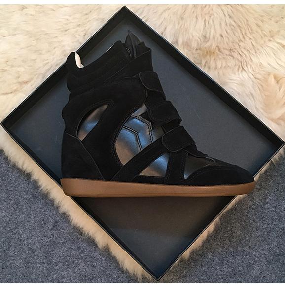 Chaussures femme respirant crochet cheville bottes en cuir véritable talon compensé baskets femme couleur mélangée casual chaussures plateforme dames