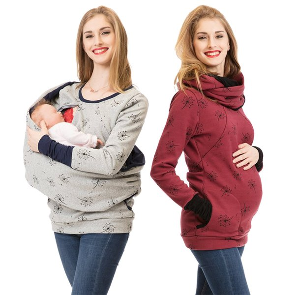 2018 New Maternity Clothes For Women Dot Pregnancy Hooded Tops T Shirt Winter Breastfeeding Nursing Pregnant Tee Autumn Clothing Y190525