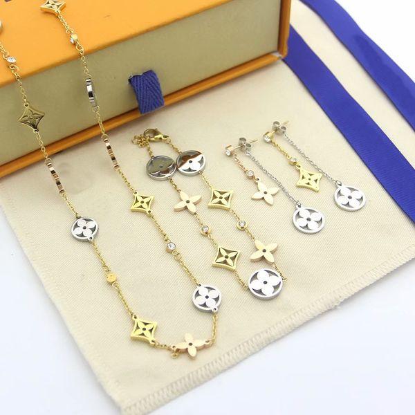 best selling Hot Sale Fashion Jewelry Sets Lady Titanium Steel Hollow Out Four Leaf Flower V Letter 18K Gold Necklaces Bracelets Earrings Sets (1Sets)