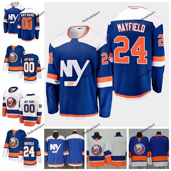 2019 New York Islanders Scott Mayfield Camisetas de hockey para hombre Nombre personalizado Alterno Azul Hogar 24 Scott Mayfield Camisetas de hockey cosidas S-XXXL