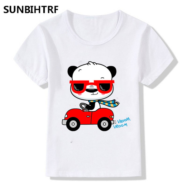 Cute Giant Pandas In Cars Design Children's Funny T-Shirts Big Boys Girls Summer Short Sleeve Tops Tees Kids Casual Clothes