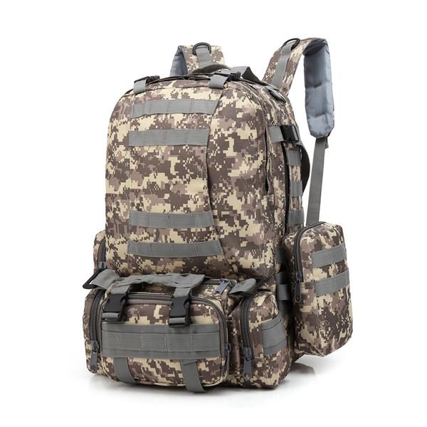 Ao ar livre 55L Molle Tactical Bag Camping Caminhadas Trekking Mochila Casual Grande Capacidade Mochila Bagpack BookBag # 30