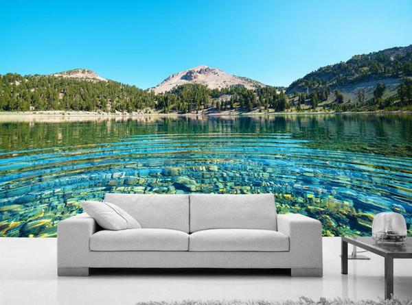 Papiers peints personnalisés mur 3D Fond d'écran Peinture murale stéréoscopiques lac d'eau du lac mousseux 3D Salon TV mural r Backdrop