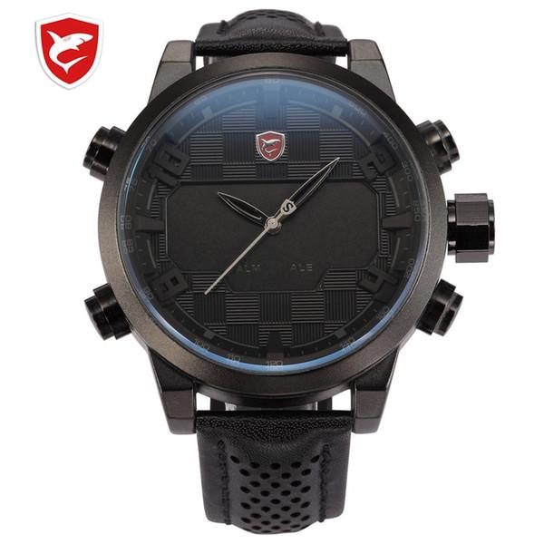 SH203-206 Luxury Leather Package Digital Sport Watch Waterproof Dual Time Oversized LED Calendar Alarm Men Quartz Watches