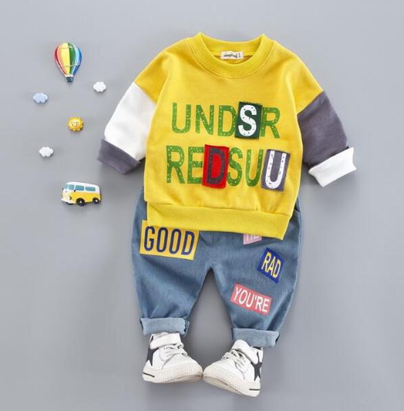 Coreano outono boutique roupas infantis dois conjuntos de algodão puro vestuário sanitário cor pesada patchwork + calça jeans colados