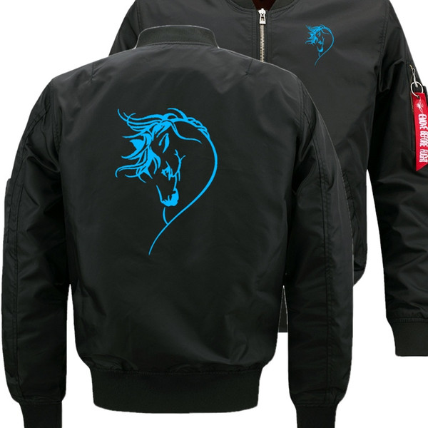 Fluorescent luminous auspicious horse Bomber Flight Flying Jacket Winter thicken Warm Zipper Men Jackets Anime Men's Casual Coat