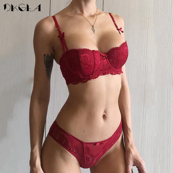 Nueva media taza de bragas conjuntos de bragas conjuntos rojo conjunto de lencería de mujer bordado blanco sujetador de algodón fino conjunto de ropa interior sexy sujetador de encaje C D Copa Y19070402