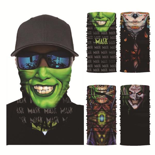 3D haute qualité masque de moto tube tube écharpe crâne demi visage bandana sport masques multifonctionnel écharpe magique sans soudure