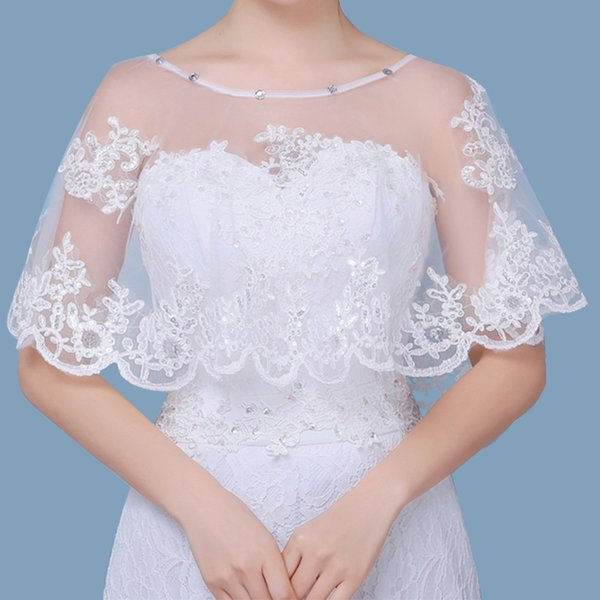 Hot sale off Shoulder Bridal Lace Bolero Applique Cape Low Front Long Back White Shrug Women Shawls Wedding Accessories CPA1295