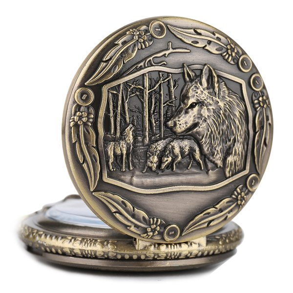 Mens Bronze Wolf Pendant Chain Pocket Watch Theme Full Hunter Skeleton Necklace Quartz Women Watches Vintage Clock With Gift Bag